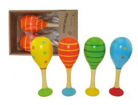 Large Wooden Patterned Maracas with Base